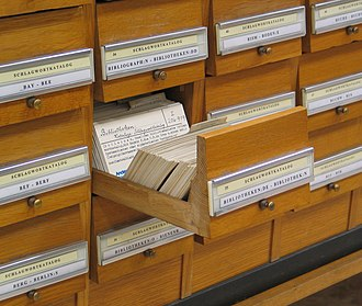 The card catalog, a technology developed in the 19th century, became ubiquitous in the 20th century. Schlagwortkatalog.jpg