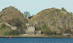 Kingdom of Strathclyde - Looking north at Dumbarton Rock chief fort of Strathclyde from the 6th century to 870. The fort of Alt Clut was on the right-hand summit.