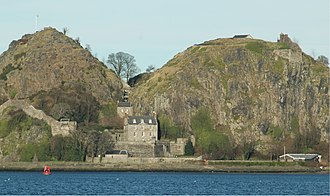 Scotland in the Early Middle Ages - Looking north at Dumbarton Rock, the chief fort of Strathclyde from the 6th century to 870 when it was taken by the Vikings