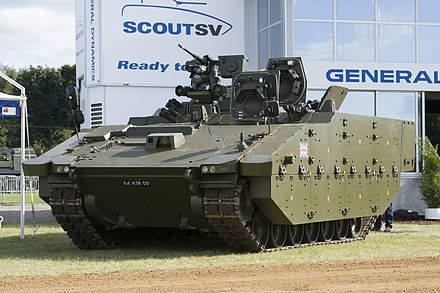 The Ajax armoured vehicle, of which 589 are to be ordered.