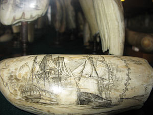 Whaling in the United States - Detail on a piece in the Horta Scrimshaw Museum