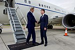 Secretary Kerry Shakes Hands With U.S. Ambassador to the United Kingdom Barzun After Landing in London (27836979212).jpg