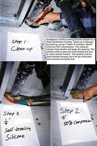 Sealant - Self-leveling silicone firestop system used around pipe through-penetration in a two-hour fire-resistance rated concrete floor assembly.