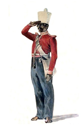 89th Punjabis - Image: Sepoy, 29th Madras Native Infantry. Watercolour by Alex Hunter, 1846