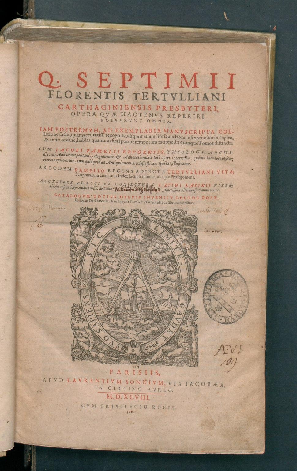 Septimi Florensis Tertulliani Opera