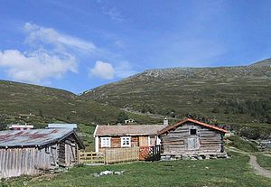 Transhumance - A seter in Gudbrandsdal, Norway. Above the tree line in the mountains, it is used as a dwelling for those who accompany livestock to summer pasture.