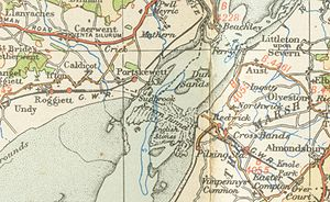 Severn Tunnel - A map from 1946 showing the route of the tunnel and the surrounding area
