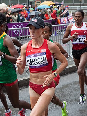 Shalane Flanagan - Flanagan running in the 2012 Summer Olympics