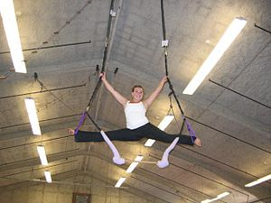 This is me on the trapeze during practice with...