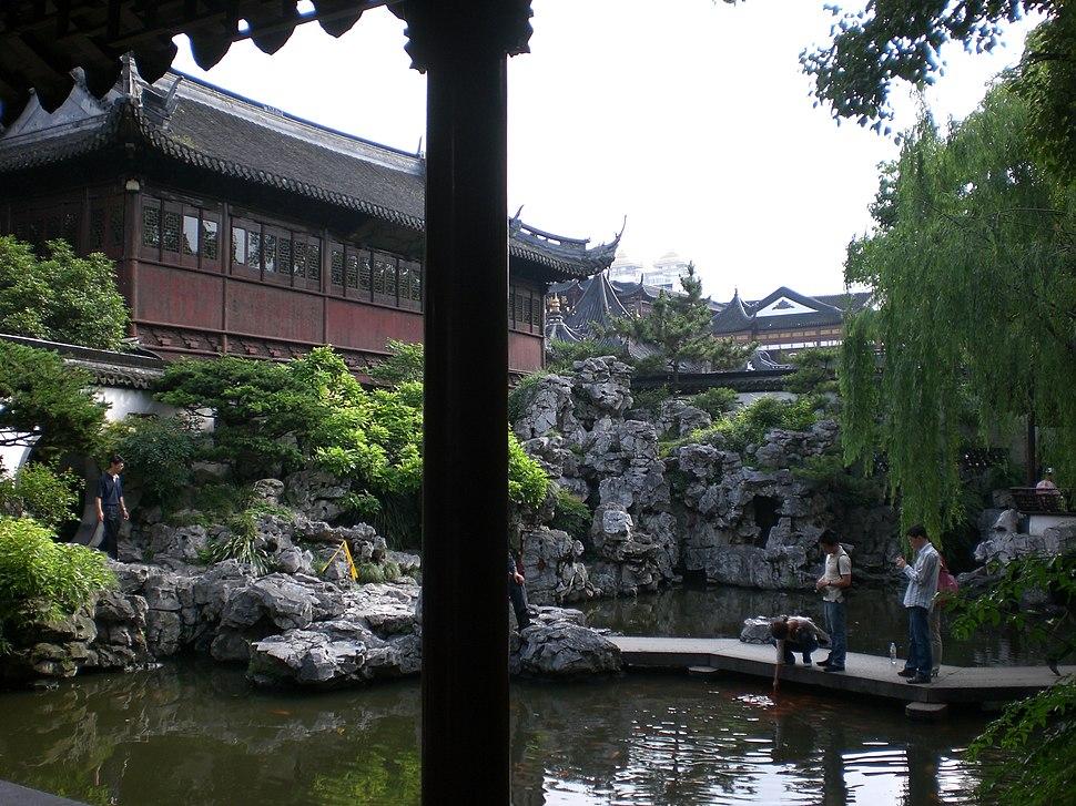Fontana Feng Shui Con Giardino Zen Sorgente Di Montagna.Giardino Cinese Howling Pixel