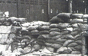 Battle of Shanghai - A section of a Chinese road blockade defended by the 87th Division