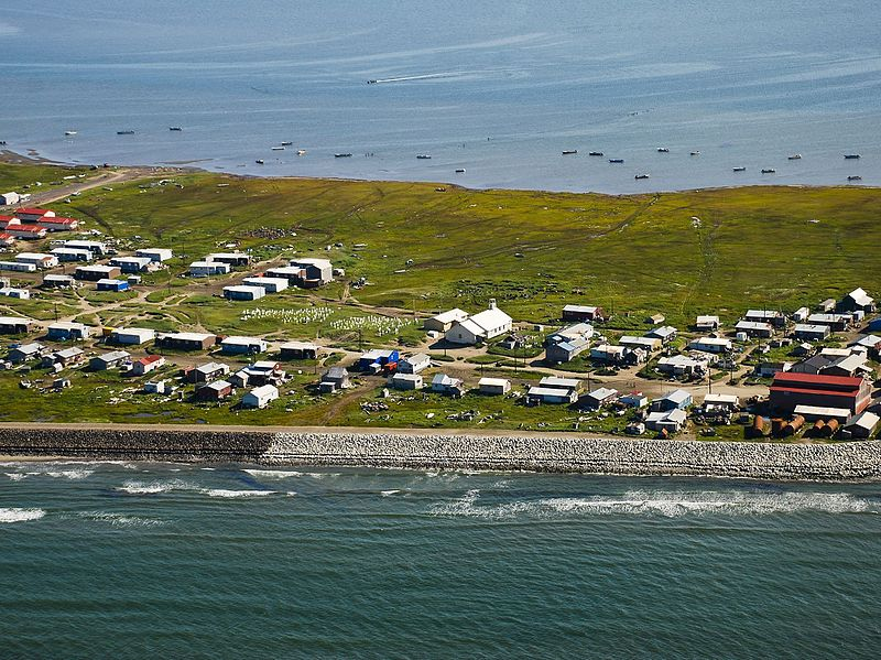 Climate change is creating climate refugees in Shishmaref, Alaska. Credit: Wikipedia commons