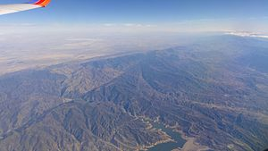 Sierra Pelona Mountains - Aerial view of the Sierra Pelona Mountains and San Andreas Fault