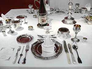 Table setting - A table setting may have many elements, especially on formal occasions; the long utensil is a lobster pick.