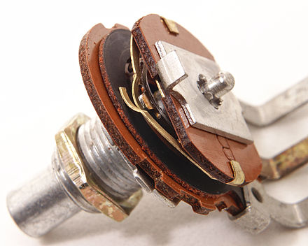 Single-turn potentiometer with metal casing removed to expose wiper contacts and resistive track Single-turn potentiometer with internals exposed, oblique view.jpg