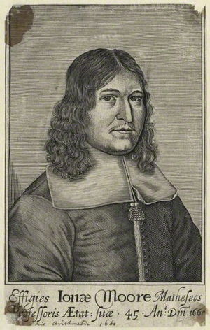 Jonas Moore - Engraved portrait of Moore by an unknown artist
