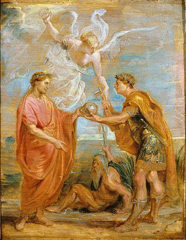 Констанций назначает Константина своим преемником. Эскиз для серии шпалер «История Константина». 1622, масло по дереву, 61×53,4см. Сидней, Художественная галерея Нового Южного Уэльса.