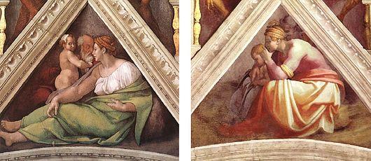 A comparison of two spandrels reveals different post-restoration states.