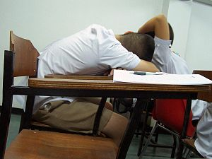 Sleeping when studying - Nakhon Sawan, Thailand
