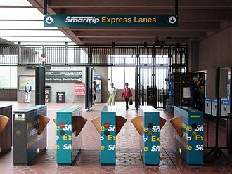 SmarTrip - SmarTrip Express Lane faregates at Vienna station. These gates are obsolete since 2016 when fare gates started only accepting SmarTrip cards.