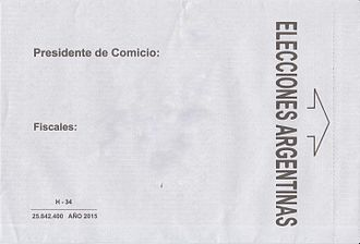 Elections in Argentina - Envelope to cast votes in during the general elections of 2015.