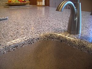 Solid surface - Solid Surface Top Seamless Integral Kitchen Sink