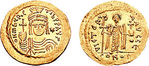 Priscus (general) - Gold solidus of Emperor Maurice (r. 582–602).