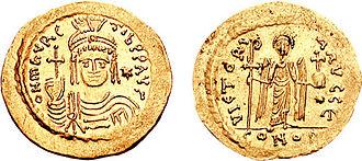Priscus (general) - Gold solidus of Emperor Maurice (r. 582–602).