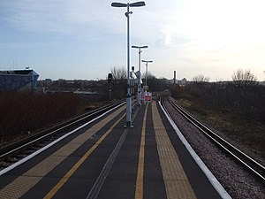 South Bermondsey railway station - The island platform with The Den in the background