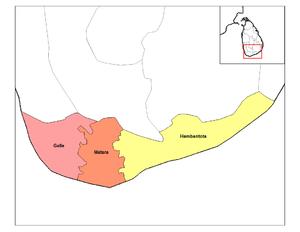Southern Province, Sri Lanka - Districts of Southern province