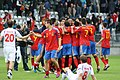 Spain U-21 celebration huddle.jpg