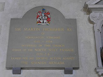 Martin Frobisher - Plaque in St Giles-without-Cripplegate, London