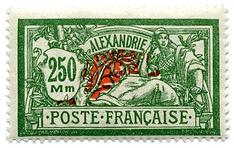 "Luc-Olivier Merson - The ""Type Merson"" design of 1900 was still being used in 1927 for the French post offices in Egypt; Merson's name is barely visible in the lower left of the frame."