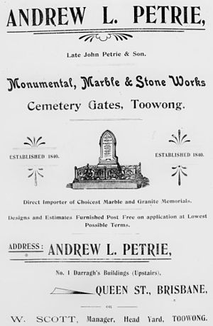 Andrew Lang Petrie - Advertisement for the manufacturer of stone memorials, Andrew L. Petrie