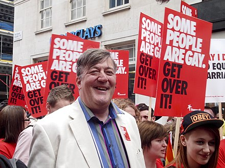 Stephen Fry with Stonewall marchers at WorldPride 2012 in London StephenFryWorldPride.jpg