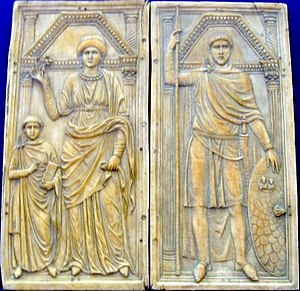 Sack of Rome (410) - Ivory diptych of Stilicho (right) with his wife Serena and son Eucherius, ca. 395