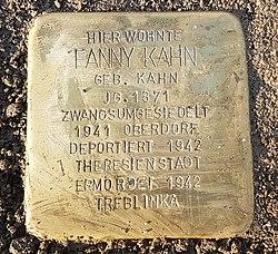 Stolperstein Aalen Fanny Kahn, Oesterleinstraße 10.jpg