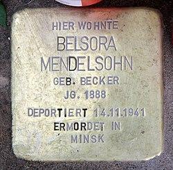 Photo of Belsora Mendelsohn brass plaque