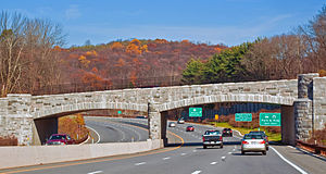 Taconic State Parkway - Stone overpass in Westchester County