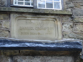 10 Firwood Fold - Stone panel in 10, Firwood Fold announcing that Samuel Crompton was born in the house 3 December 1753.