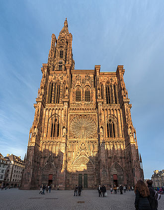 Strasbourg Cathedral - Strasbourg Cathedral's west façade, viewed from Rue Mercière