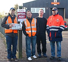 A group of striking postal workers man a Picket line at the Royal Mail's Bowthorpe depot in Norwich cin 2009.