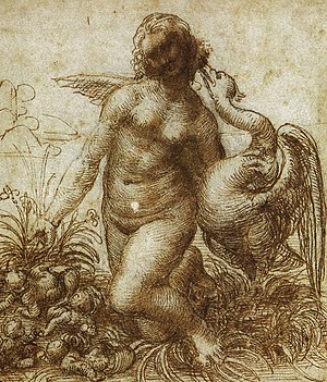 Leda and the Swan (Leonardo) - Leonardo, Leda and the Swan, drawing on paper, Chatsworth