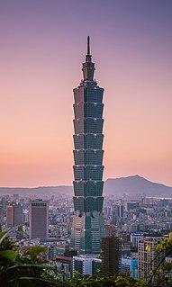 Taipei 101 Skyscraper located in Xinyi District, Taipei, Taiwan