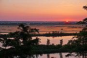 秋田県八郎潟町 三倉鼻公園より眺める夕景