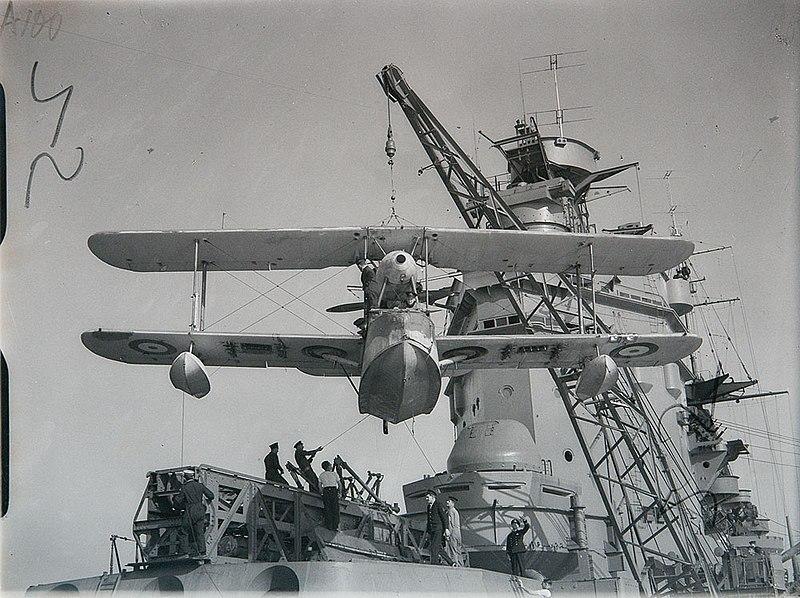 File:Supermarine Walrus being hoisted onto HMS RODNEY (4888758875).jpg