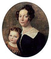 Susanne Schinkel mit Tochter Elisabeth, um 1825 (Quelle: Wikimedia)