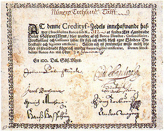 The first paper money in Europe, issued by the Stockholms Banco in 1666. Sweden-Credityf-Zedels.jpg