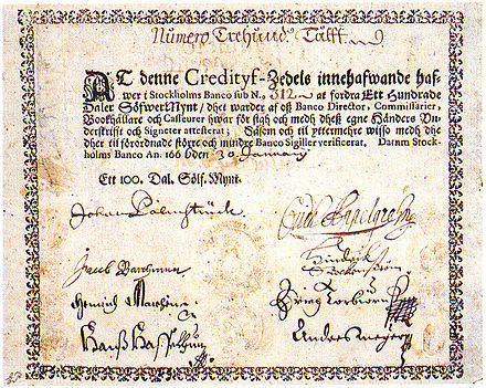 The first paper money in Europe, issued by the Stockholms Banco in 1666.[24]