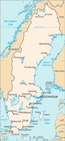 A map of Sweden with largest cities and lakes